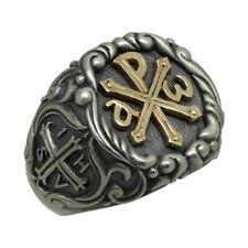 Knights Templar Chi Rho Gold 10K and Silver 925 Alfa Omega Men's Ring US Sizes
