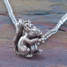 925 sterling silver SQUIRREL holding an ACORN 3D Charm Pendant Chain Necklace