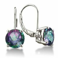 925 Sterling Silver 2.00 ct Purple Amethyst Round 6mm CZ Leverback Earrings Stud