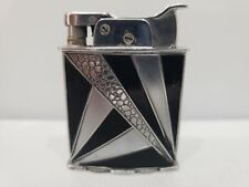 Vintage Working EVANS Roller Bearing Lighter - Modernist Design, Black Enamel