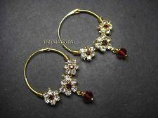 E2756 Gold tone Gift rhinestone hoop Bollywood Jhumki Dangle Earrings Jewelry