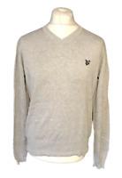 Lyle & Scott Men's Casual Jumper V Neck Grey Long Sleeve Medium 100% Cotton