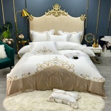 Luxury Satin Silk Cotton Gold Embroidery Palace Bedding Set Cover Bed Linen