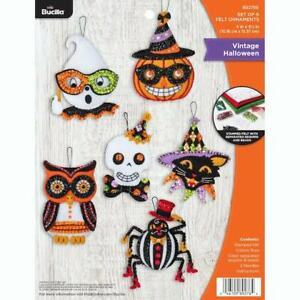 Bucilla Felt Ornaments Applique Kit Set of 6 - Vintage Halloween
