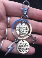 Harry potter Charm Keyring Deathly Hallows Clip Bag Key Ring Mischief Managed