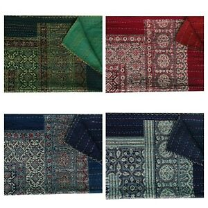 Indian HandBlock Printed Twin Size Kantha Embroidery Blanket Bedspread 150x225cm