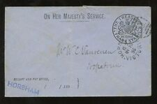 AUSTRALIA 1893 OFFICIAL TREASURY ENVELOPE HORSHAM DUPLEX OHMS to HOPETOUN
