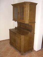 ::BAROCKSCHRANK EICHE UM 1780 BAUERNBUFFET RUSTIKAL ANTIK VITRINE TEILRESTAUR.