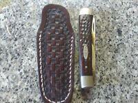 Custom Leather Pocket  Knife Slip Case Sheath Handmade Trapper