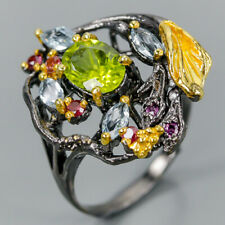 Unique SET Natural Peridot 925 Sterling Silver Ring Size 8.25/R103186