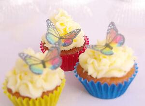 Edible Rainbow Butterfly Cupcake Topper 30pc Sixties Tie-dye Swirl Bright