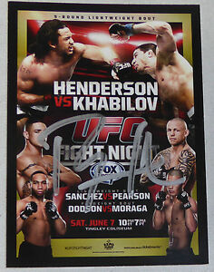 Benson Henderson Signed UFC 2015 Topps Champions Fight Night 42 Poster Card Auto