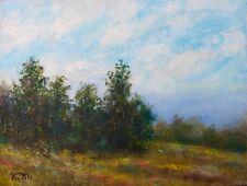 Hilltop Trees - original 6X8 inch oil landscape on canvas by K. McDermott