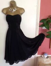 NWOT WAREHOUSE Silk Semi Fitted Black Wedding Prom Evening Party Dress 10