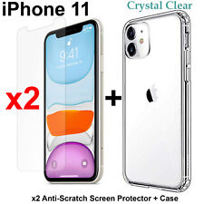 Apple iPhone 11 clear case cover and x2 4H anti-scratch front screen protector