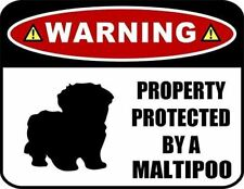 Warning Property Protected by a Maltipoo (SILHOUETTE) Laminated Dog Sign