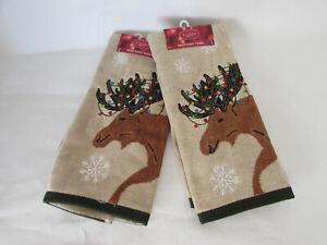 St Nicholas Square Bath Hand Towels Set of 2 Brown Tan Moose Holiday Rustic