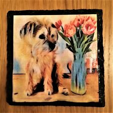 2 X SLATE DRINKS COASTERS WITH CUTE BORDER TERRIER & FLOWERS, MOTHERS DAY GIFT