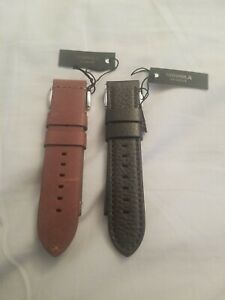 Shinola Lot, 2 Interchangeable Leather Straps, 24mm, Made in USA, NWT $190