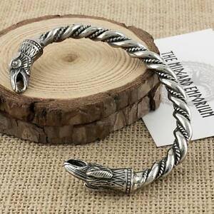 Viking Raven Bracelet Stainless Steel Arm Ring Mens Jewellery Bangle