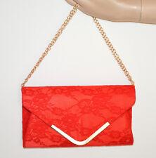 SAC POCHETTE Rouge  dentelle brodée femme clutch bag chaîne d'or élégant G55