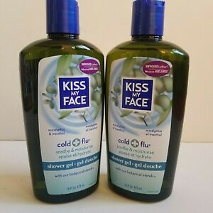 2x KISS MY FACE Cold + Flu Eucalyptus Menthol Shower Body Wash Gel Soap 16 fl oz