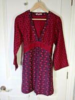 White Stuff dress Size 10 lightweight silk & cotton red & navy sash bell sleeves