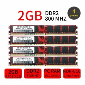 8GB Kit 4x 2GB PC2-6400U DDR2 800MHz 240Pin DIMM CL6 intel Desktop SDRAM Memory