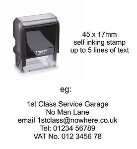 Personalised Garage Mechanic Rubber Stamp 4912 Excellent Service History address
