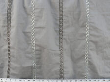 Drapery Upholstery Fabric Blended Cotton Twill Embroidered Chain Design - Gray