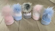 BABY FUR POM POM HATS KNIT NEWBORN WINTER KINDER HAT PINK BLUE WHITE GREY