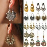 Vintage Boho Tibetan Carved Beads Geometric Tassel Dangle Bohemia Earrings Women
