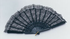 Spanish Black Lace Hand Fan Fabric Silk, Wedding Party Accessory Fancy Dress