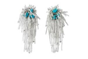 Toga Archives X H&M HM Bugle-Bead Clip Earrings Turquoise Blue Silver New