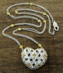 18K White Gold Orange Yellow & White Diamond Heart w/ Diamond By The Yard Chain