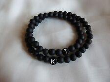 Partnerarmband Perlen 2x schwarz matt Paarschmuck mit Wunsch-Buchstaben-Namen