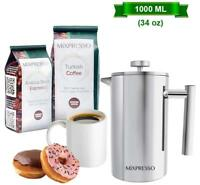Stainless Steel French Press Coffee Maker Double Wall Insulation Coffee &Tea