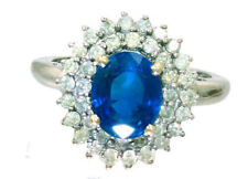 Sapphire Engagement Round White Gold Fine Gemstone Rings