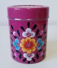 ** ** Comercio Justo pintado a mano diseño floral rosa té estaño indio