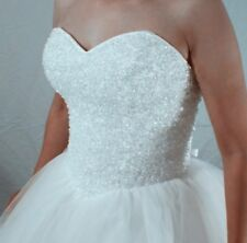 Size 6 8 10 12 14 16 18 20 22 White Ivory Wedding Dress Tulle Strapless Princess