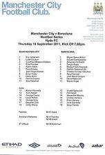 Football Programme/Teamsheet>MAN CITY v FC BARCELONA Sept 2011 U19 Nextgen Cup