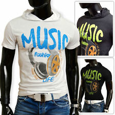 Hooded Short Sleeve Graphic Fitted T-Shirts for Men