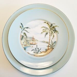Lot of 2 Vintage Lenox British Colonial Collection Tradewind Ships Plates