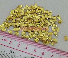 100PCS 3D Pineapple Shape Gold Silver Alloy Nail Art Metal Decal Gems