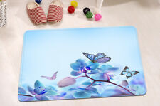 Butterfly Flower Nonslip Memory Foam Mat Bathroom Floor Door Rug Shower Carpet