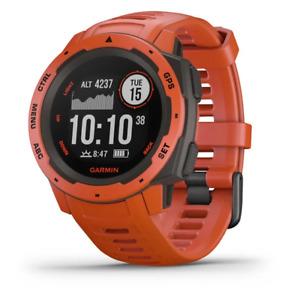 Garmin Instinct Flame Red Fitness Rugged Outdoor GPS Watch Men Women OPEN BOX