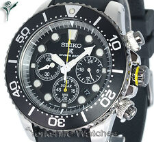 New SEIKO SOLAR 200mt PRO DIVERS CHRONO With Rubber Buckle Strap SSC021P1