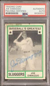 Joe DiMaggio Signed 1982 TCMA #44 Baseball Card NY Yankees Autograph HOF PSA/DNA