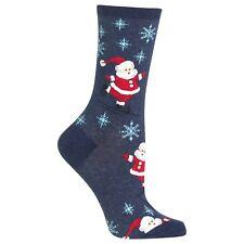 Hot Sox - SKATING SANTA (Denim) -1 Pair Women's Socks (Size 9-11)- HS-X-HOH00013