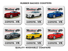 FORD  2015  2017   MUSTANG  GT 5.0     SET OF 6 QUALITY RUBBER DRINK  COASTERS